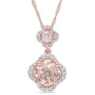 Miadora Signature Collection 14k Rose Gold Morganite and 1/5ct TDW Diamond Double Quatrefoil Dangle Necklace (G-H,I1-I2)