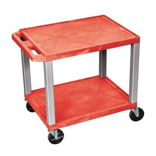 Offex OF-WT26RE-N Tuffy Red Nickel Legs 2-shelf AV Cart