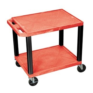 Offex Tuffy Red and Black Plastic 2-shelf A/V Cart