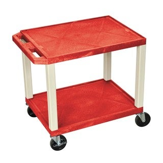 """Offex 26"""" A/V Cart - Two Shelves Red with Putty Legs"""