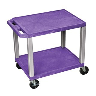 Offex OF-WT26PE-N Tuffy Purple/Nickel Legs 2-shelf A/V Cart