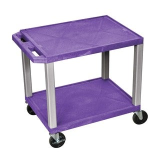 Offex OF-WT26P-N Purple 26-inch 2-shelf Multipurpose A/V Cart with Nickel Legs