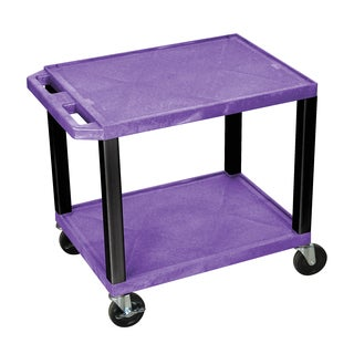 Offex Multipurpose 26-inch Purple Two-shelf A/V Utility Cart with Black Legs
