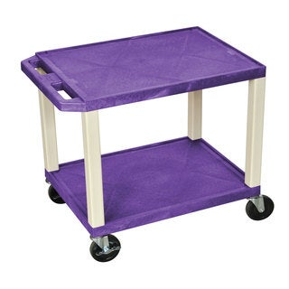 Offex Purple and Putty Plastic 26-inch 2-shelf A/V Cart