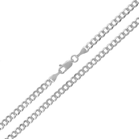 """14k White Gold 3.5mm Solid Cuban Curb Link Necklace Chain 18"""" - 30"""""""