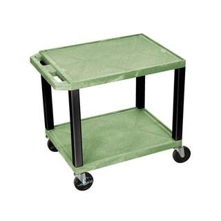 Offex OF-WT26GE-B Tuffy Green Black Legs 2-shelf AV Cart
