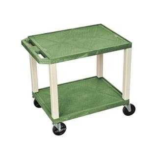 Offex Green/Putty Plastic Rolling Multipurpose AV Shelf Utility Storage Cart
