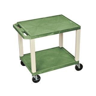 Offex Green/Putty Plastic Rolling Multipurpose AV Shelf Utility Storage Cart