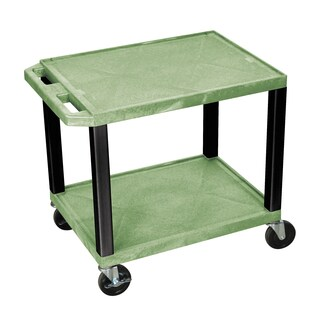 Offex Multipurpose 26-inch Green Two-shelf A/V Utility Cart with Black Legs