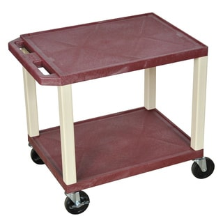 Offex Brown Plastic 2-tier A/V Utility Cart