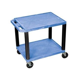 Offex OF-WT26BUE-B Tuffy Blue Plastic 2-shelf AV Cart with Black Leg