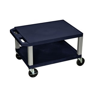 """Offex 16""""H Multi-Purpose Utility Cart - Navy with Nickel Legs"""