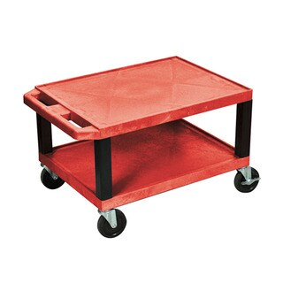 Offex Red Plastic 16-inch Multipurpose Utility Cart