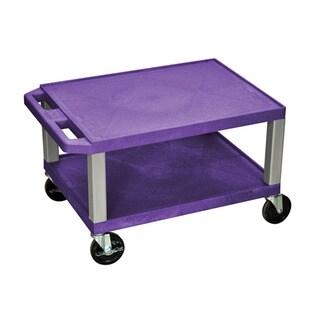 Offex OF-WT16PE-N Tuffy Purple Nickel Legs 2-shelf AV Cart