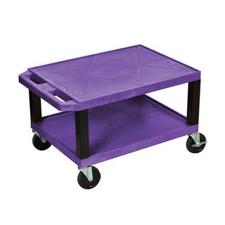 Offex OF-WT16PE-B Purple Plastic 2-shelf AV Cart with Black Legs