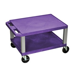 Offex Purple Plastic 16-inch High 2-shelf Multipurpose Utility Cart with Nickel Legs