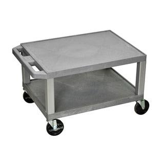 Offex Grey Plastic Two Shelf AV Rolling Cart