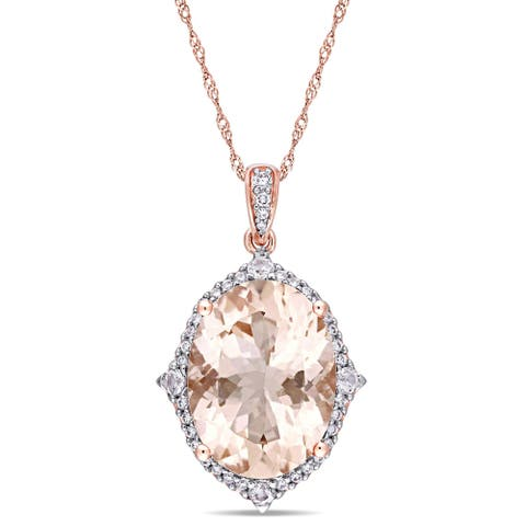 Miadora Signature Collection 14k Rose Gold Oval-Cut Morganite and 1/4ct TDW Diamond Halo Dangle Necklace (G-H, SI1-SI2)
