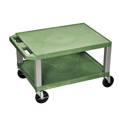 Offex Green Plastic 16-inch Two Shelf AV Cart