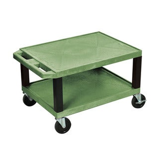 Offex Green Plastic 16-inch Multi-purpose Utility Cart with Black Legs