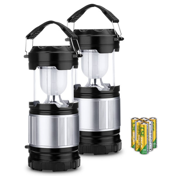 Portable Black Collapsible Outdoor LED Camping Lantern with 3 AA Batteries (Pack of 2)