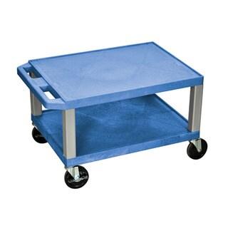Offex OF-WT16BUE-N Tuffy Blue With Nickel Legs 2-shelf AV Cart