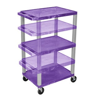 Offex Tuffy Purple and Nickel Plastic Adjustable Height Multipurpose Cart