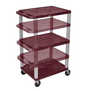 Offex Home Office Tuffy Brown Nickel Adjustable Height Multi-Purpose Cart