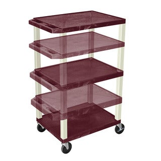Offex Home Office Tuffy Burgundy/Putty Adjustable-height Multipurpose Cart