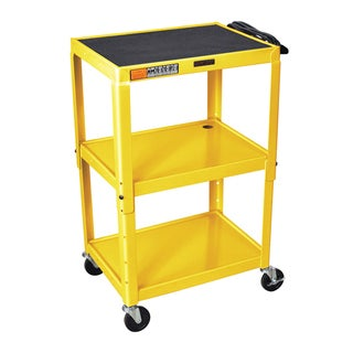 Offex Yellow Metal 3-shelf Presentation Cart