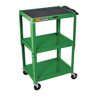 Offex Green Metal 3-shelf Presentation Cart