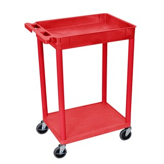 Offex Red Plastic Top Tub and Bottom Flat Shelf Cart
