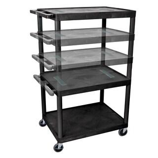 Offex Endura Black Plastic Multi-height 3-shelf A/V Cart