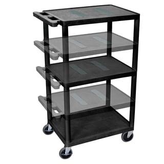 Offex OF-LEDUO-B Endura Black Multi-height 3-shelf A/V Cart