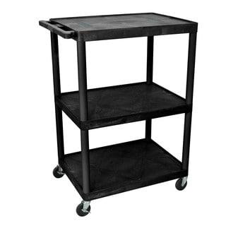 Offex OF-LE48-B Endura Black Plastic 48-inch 3-shelf A/V Cart