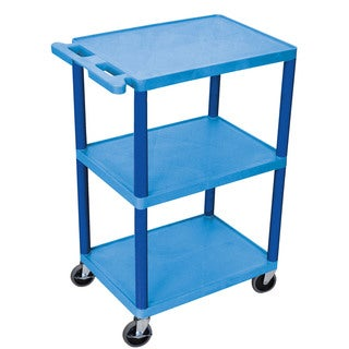 Offex OF-HE42-BU Blue Plastic 3-shelf Structural Foam Utility Cart