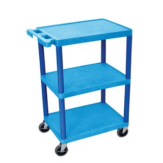 Offex Blue 3-shelf Plastic Utility Cart