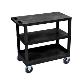 Offex Black Thermoplastic 18-inch x 32-inch 2-shelf and Single-tub Cart