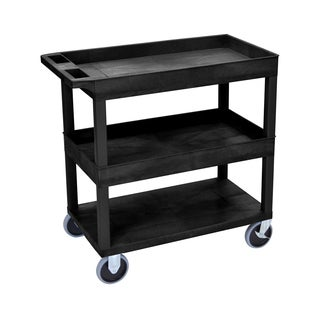 Offex High-capacity 2 Tub and 1 Flat Shelf Cart