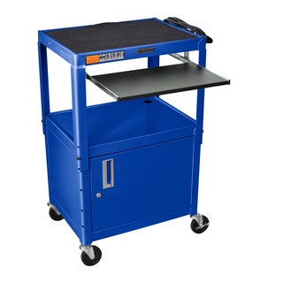 Offex Metal Adjustable-height A/V Cart with Pullout Keyboard Tray