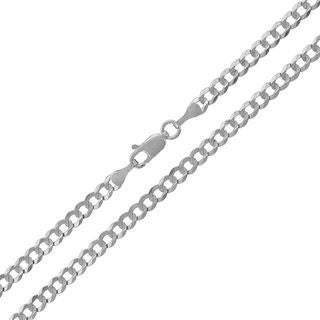14k White Gold 4mm Solid Cuban Curb Link Necklace Chain