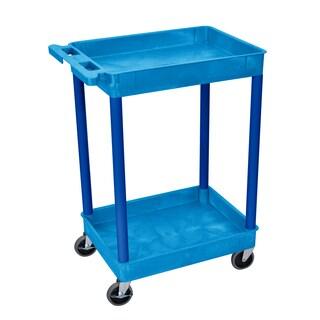 Offex Blue 2-shelf Tub Cart