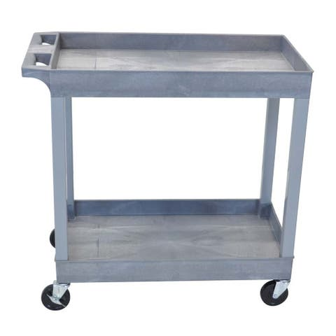Offex OF-EC11-G 2 Shelves Multipurpose Grey Storage Plastic Tub Utility Cart