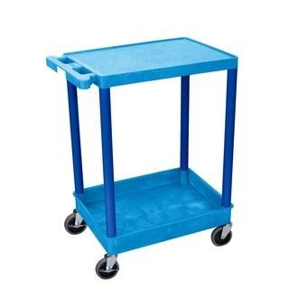Offex Blue Flat Top and Tub Bottom Shelf Cart