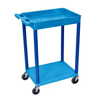 Offex Blue Plastic Top Tub and Bottom Flat Shelf Cart