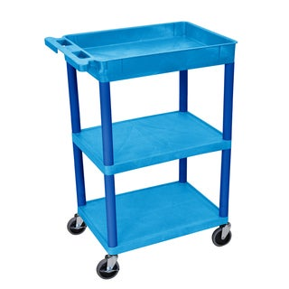 Offex Blue Thermoplastic 3-shelf and Tub Cart