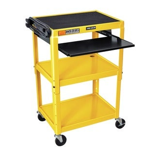 Offex OF-AVJ42KB-YW Yellow Steel Adjustable-height A/V Cart with Pullout Tray