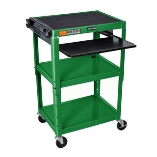 Offex Green Metal Adjustable Height A/V Cart with Pullout Keyboard Tray