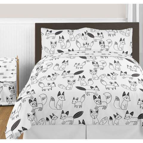 Sweet Jojo Designs Black and White Arrow Fox Collection Unisex 3-piece Full / Queen-size Comforter Set