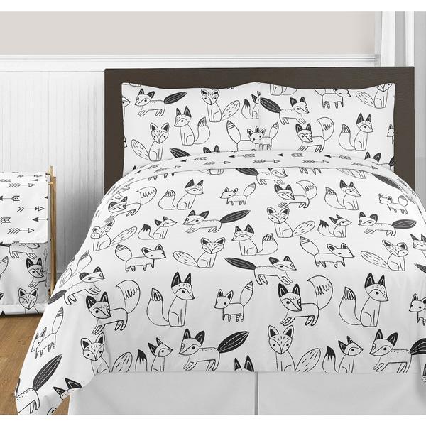 Sweet Jojo Designs Fox Collection Black and White Full/ Queen 3-piece Comforter Set